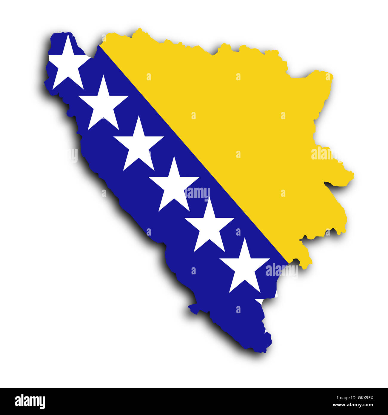 Map of Bosnia and Herzegovina - Stock Image