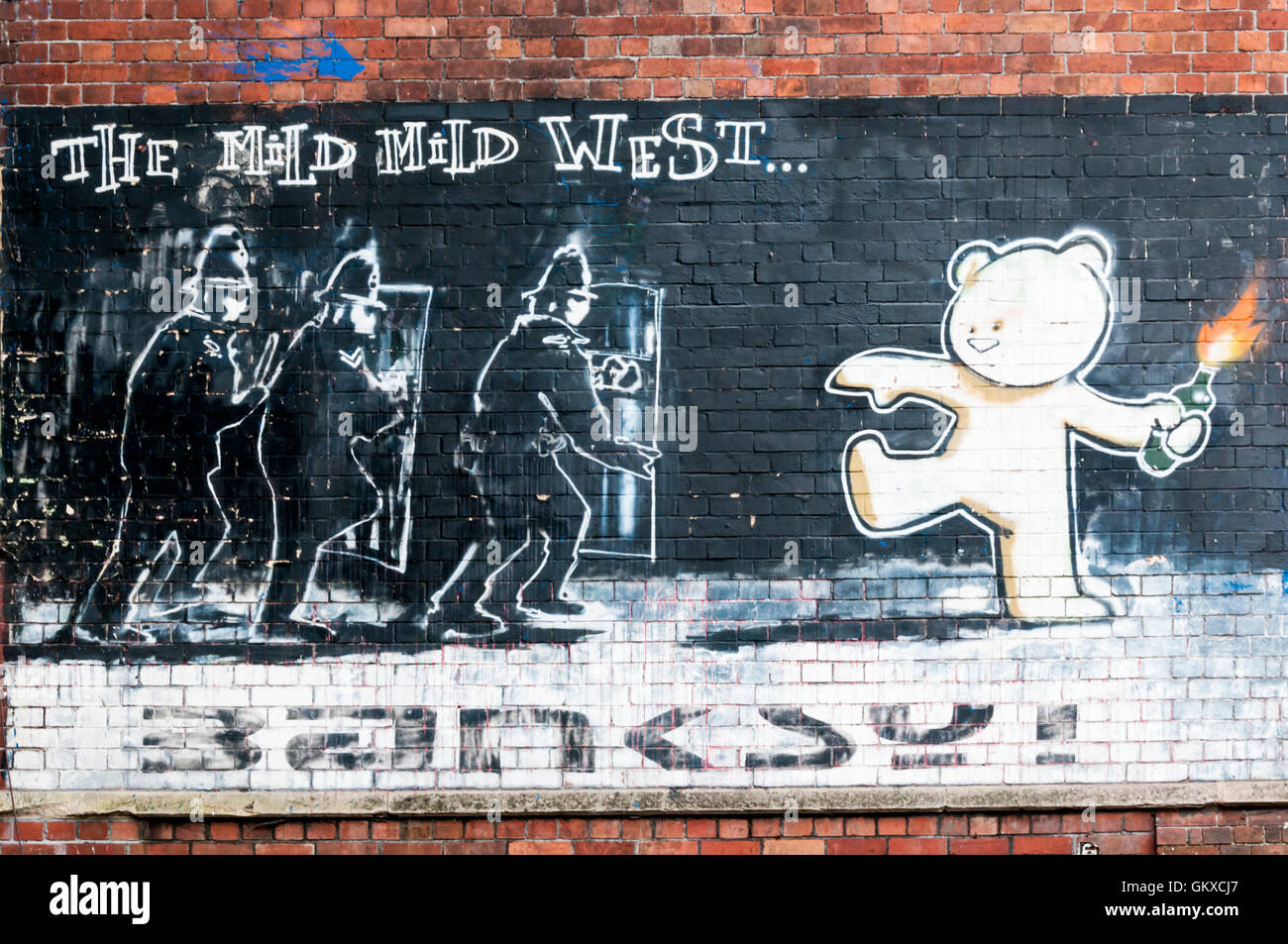 Mild Mild West graffiti by Banksy in the Stokes Croft area of Bristol. - Stock Image