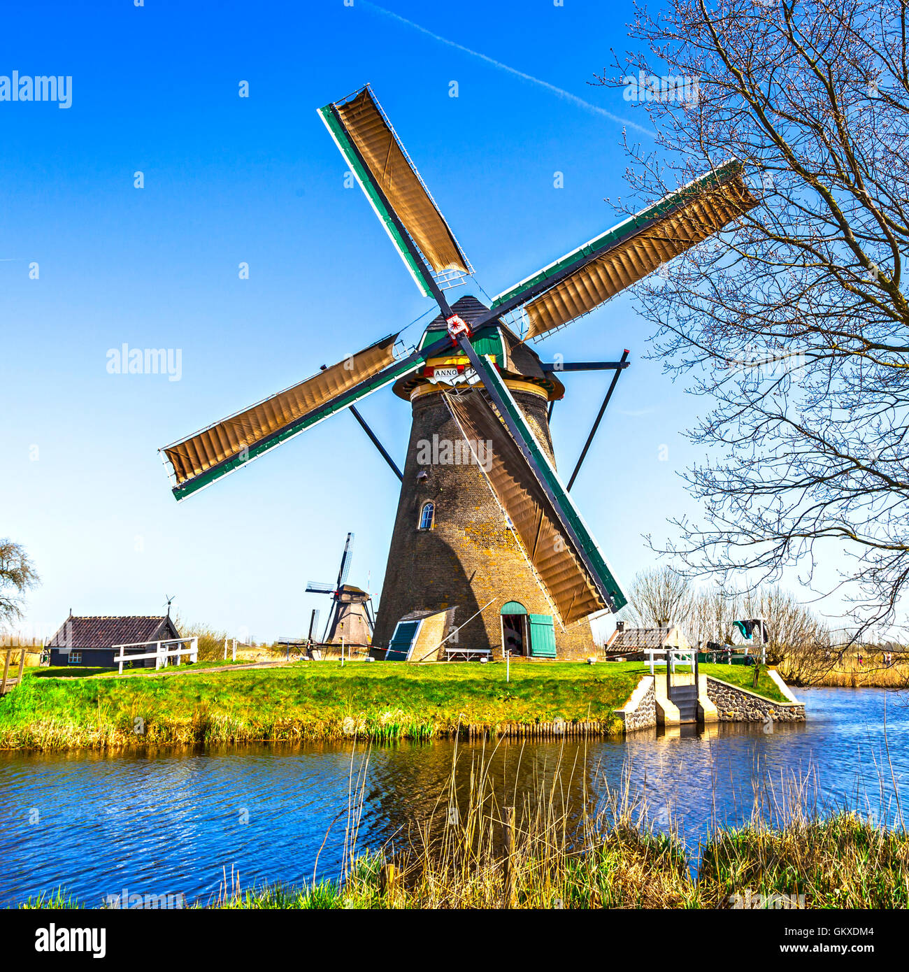 traditional holland countryside - windmills of Kinderdijk - Stock Image