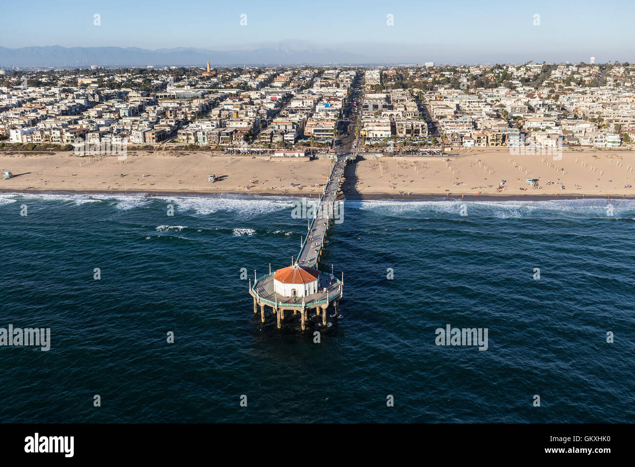 Afternoon aerial view of popular Manhattan Beach Pier near Los Angeles, California. - Stock Image