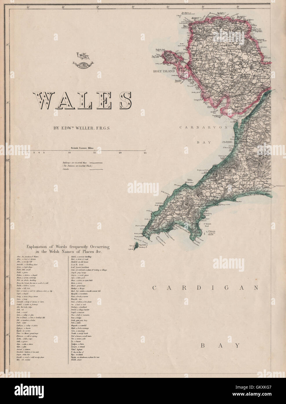 WALES NORTH WEST Anglesey Lleyn/Llyn Peninsula Welsh placenames WELLER, 1863 map - Stock Image