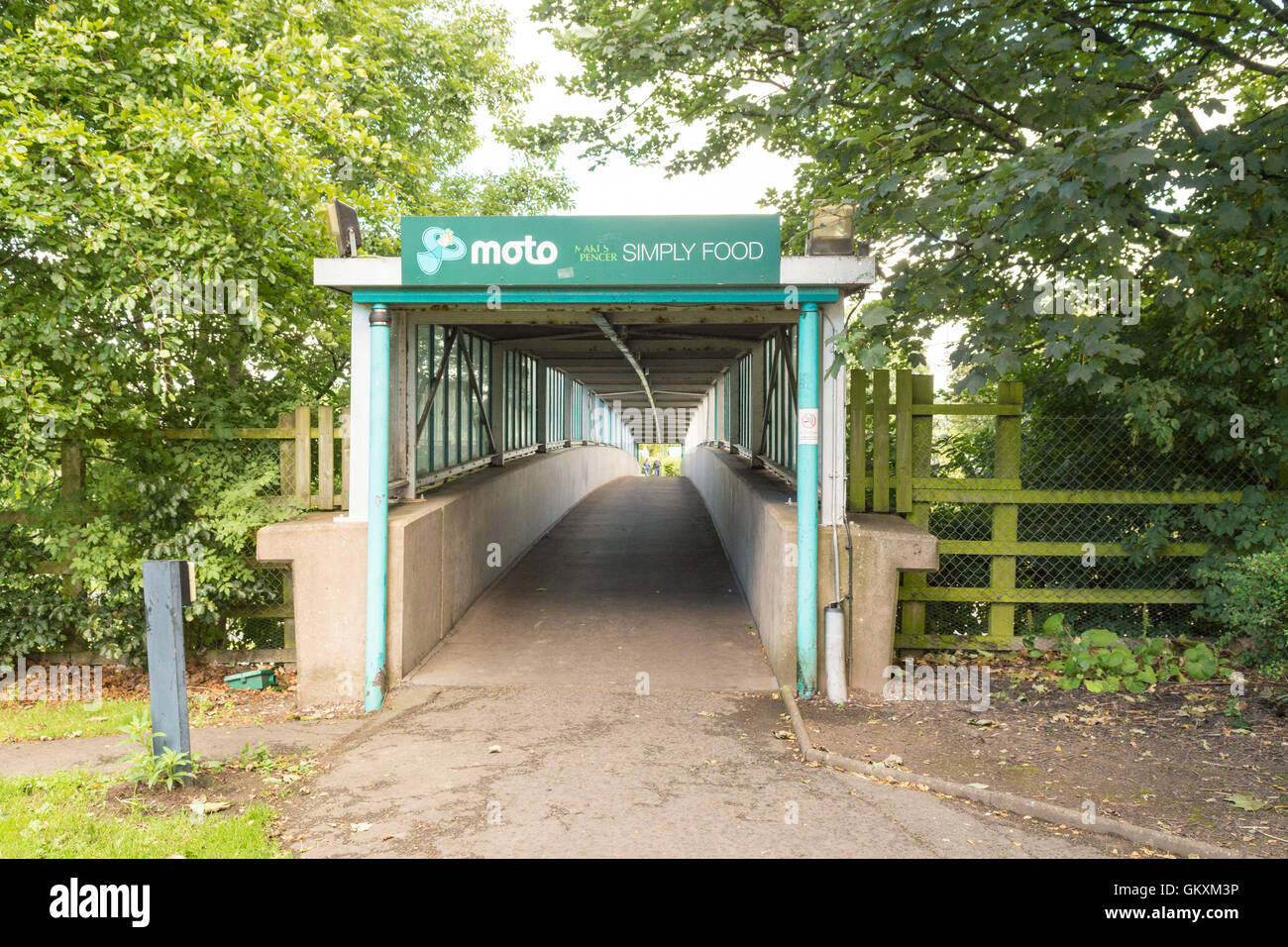 Southwaite Services on M6 motorway northbound - footbridge leading to Marks and Spencers on the southbound side - Stock Image