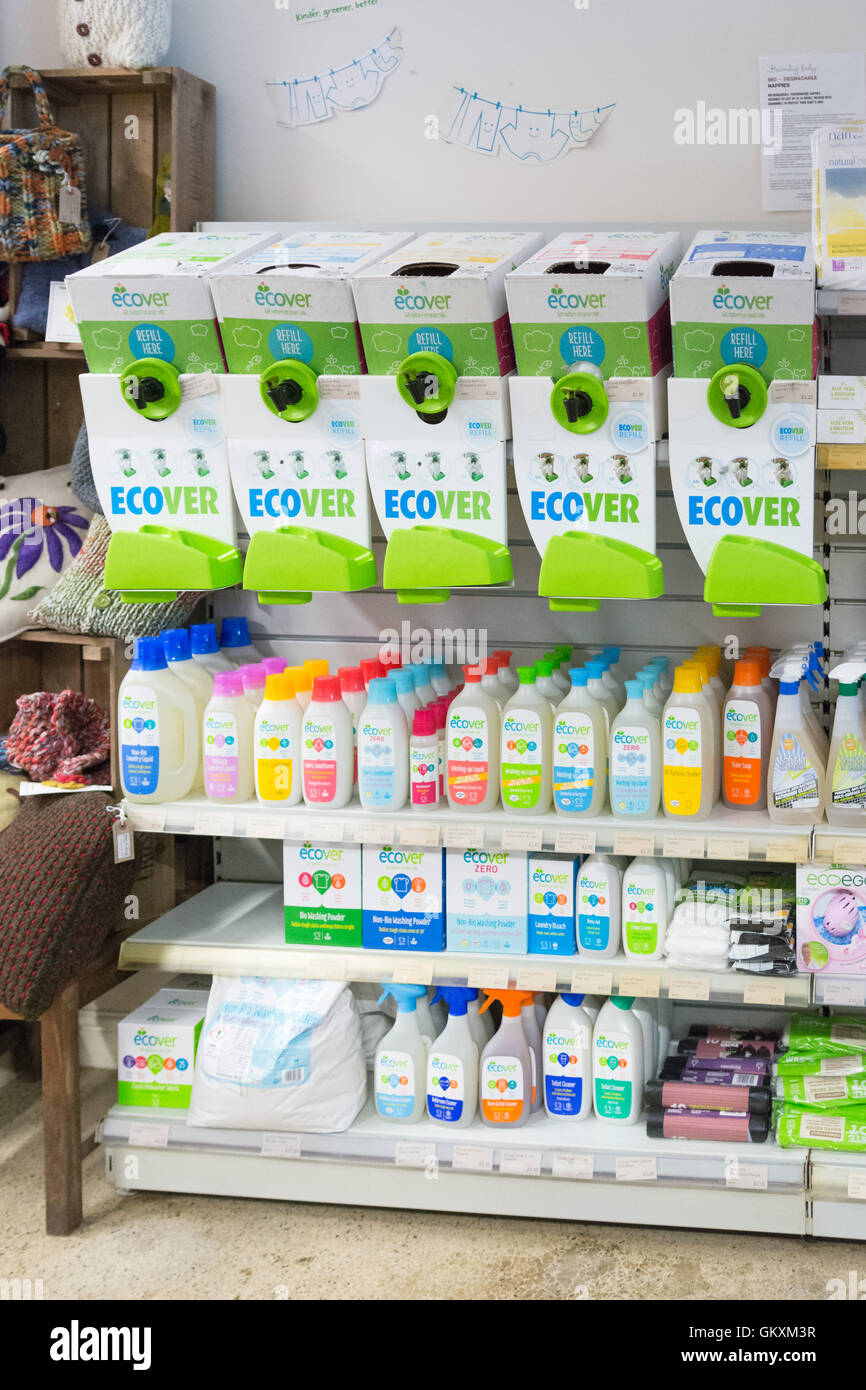 Ecover Refill Station and Ecover environmentally friendly green products on sale at Cross Lanes Organic Farm Shop, - Stock Image