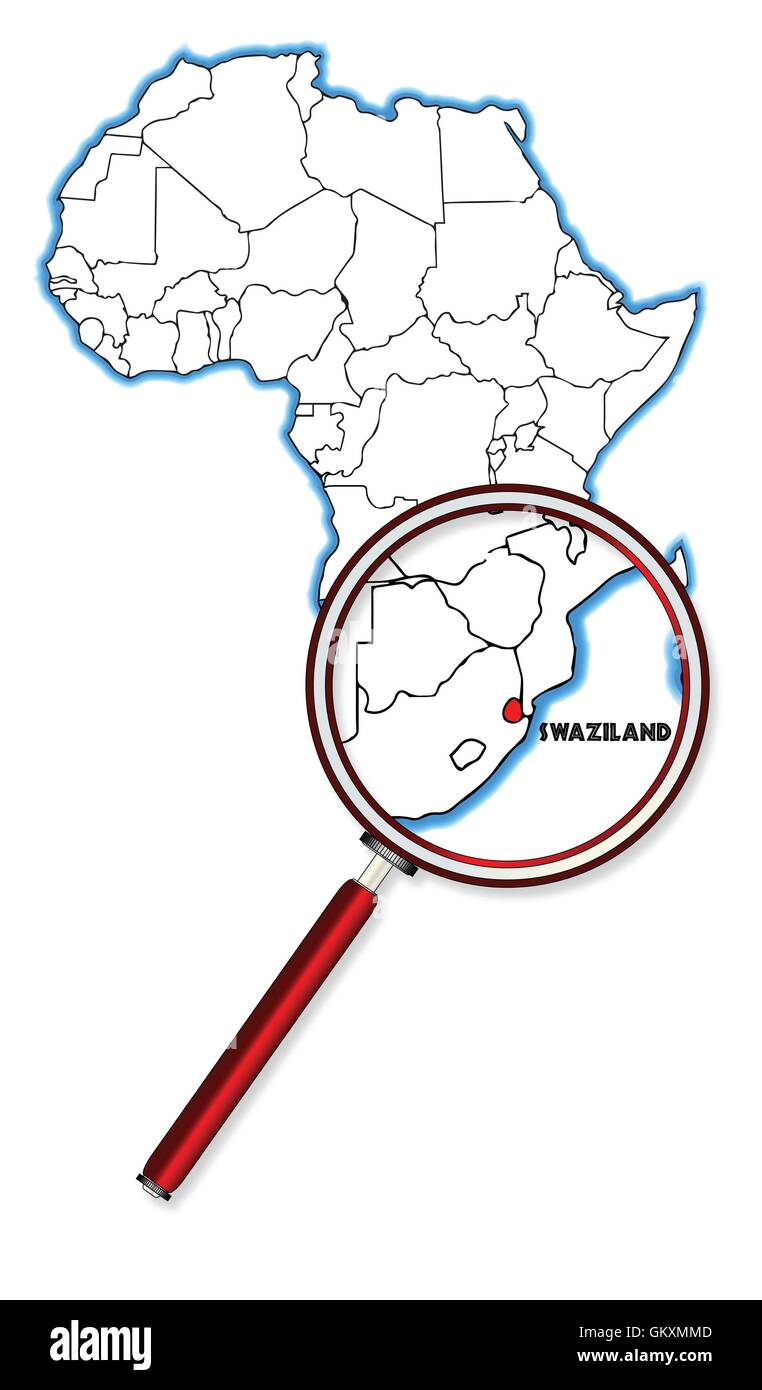 Swaziland Under A Magnifying Glass Stock Vector