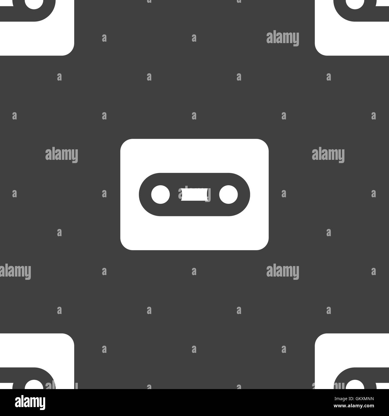 Cassette icon sign. Seamless pattern on a gray background. Vector - Stock Image