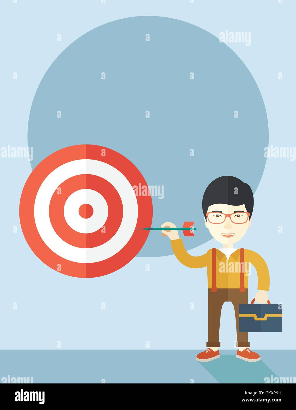 Working Chinese Man Holding A Target Arrow