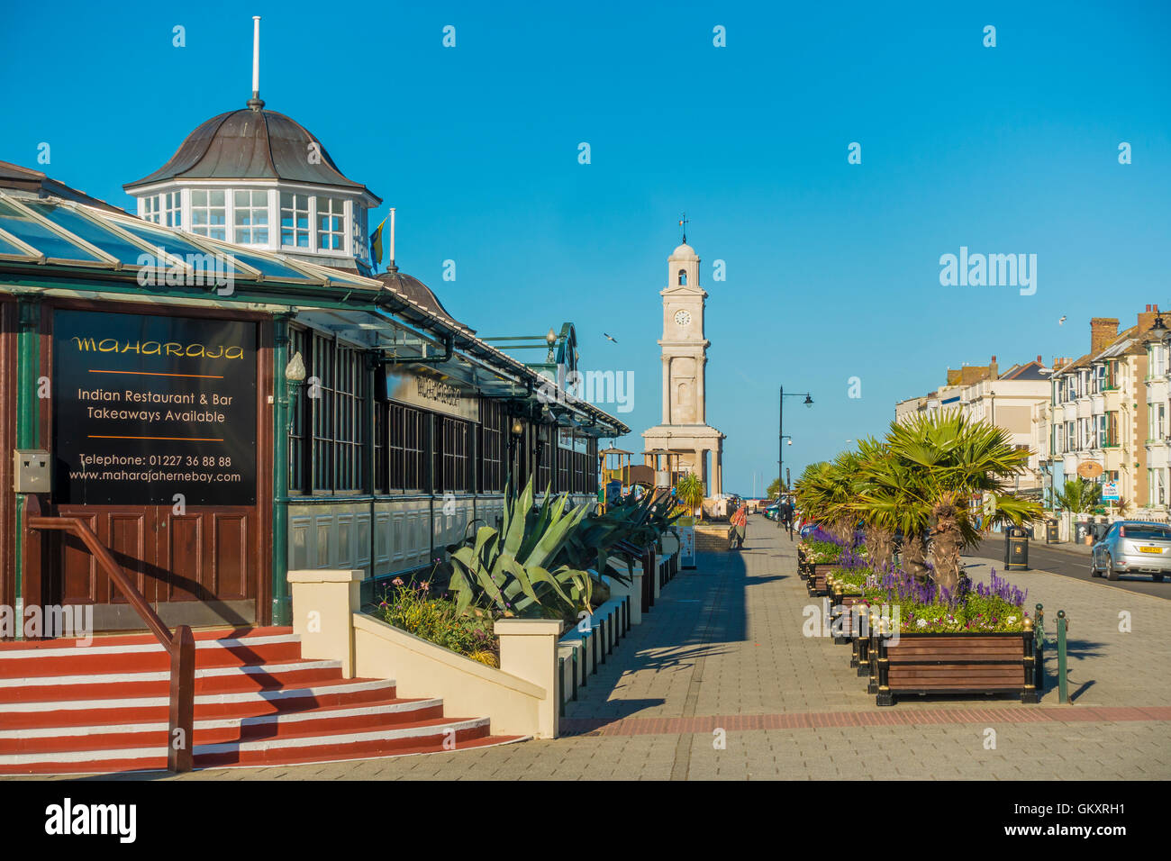 Bandstand and Clock Tower Herne Bay Seafront Kent England UK - Stock Image