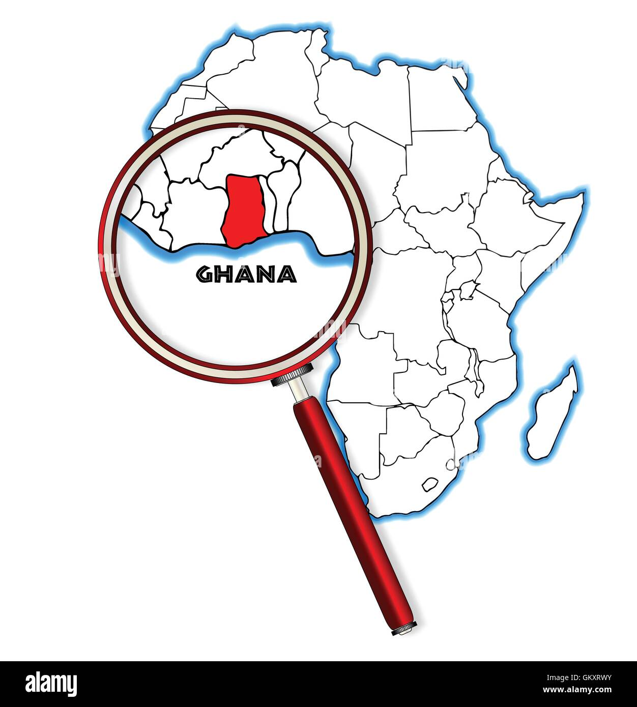 Ghana Under A Magnifying Glass - Stock Vector