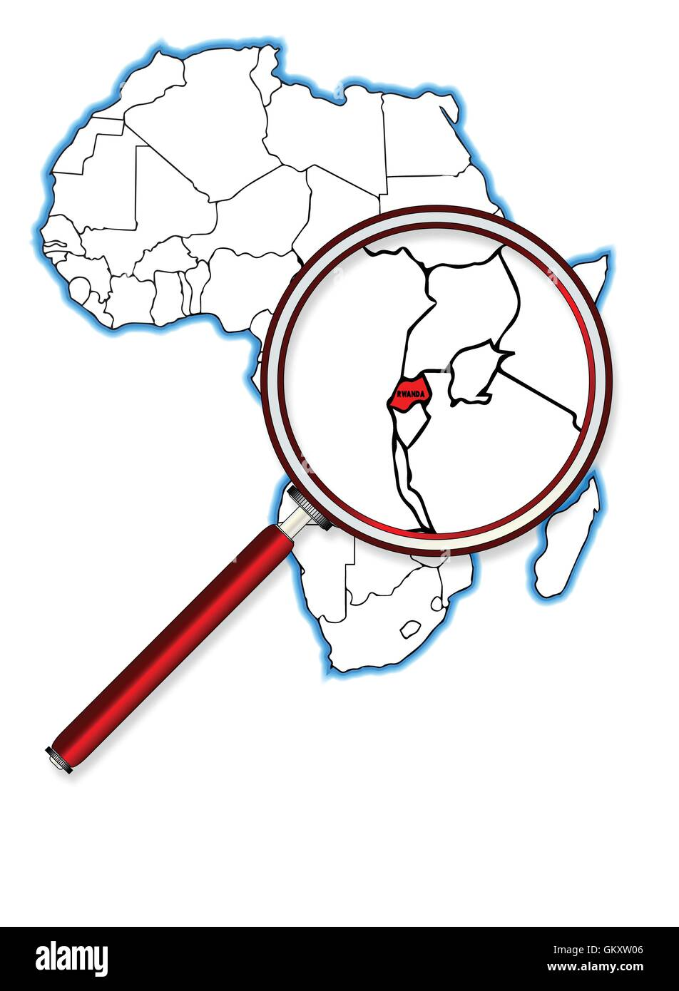 Rwanda Under A Magnifying Glass - Stock Image