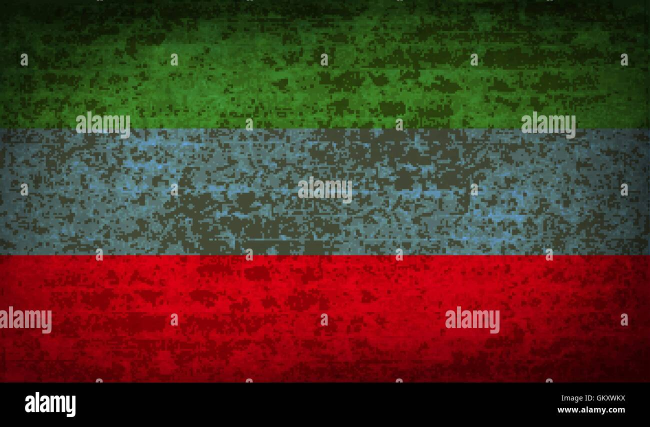 Flags Dagestan with dirty paper texture. Vector - Stock Image
