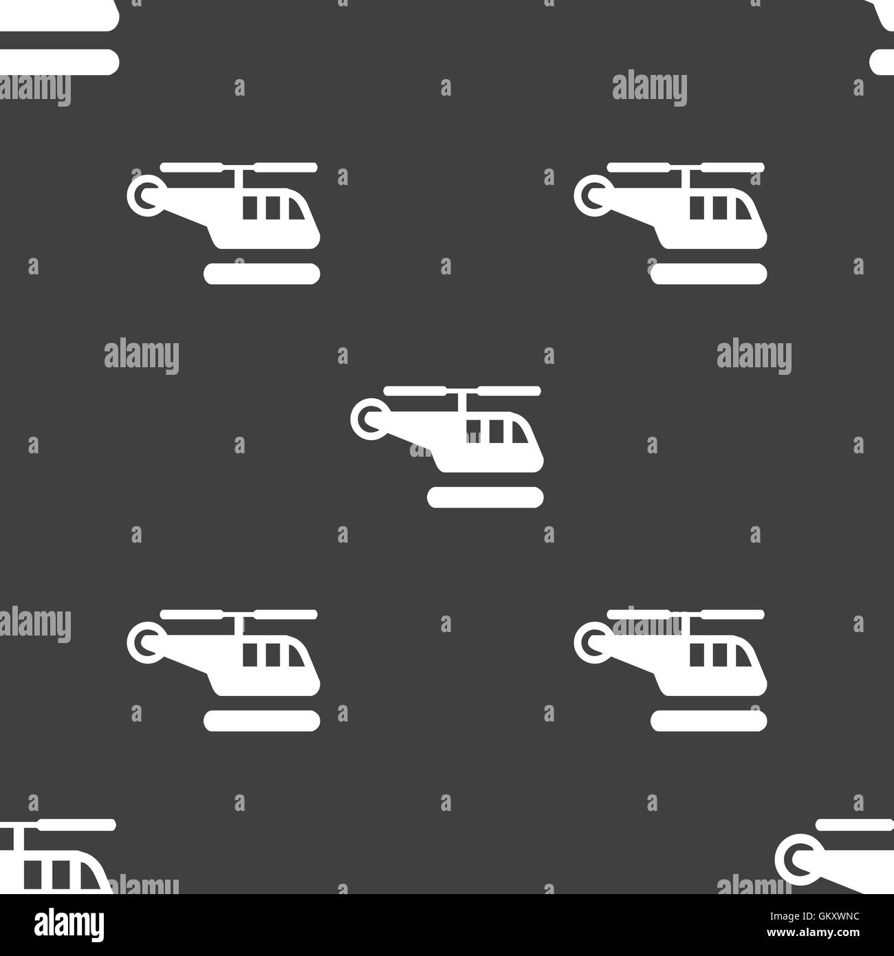 helicopter icon sign. Seamless pattern on a gray background. Vector - Stock Image