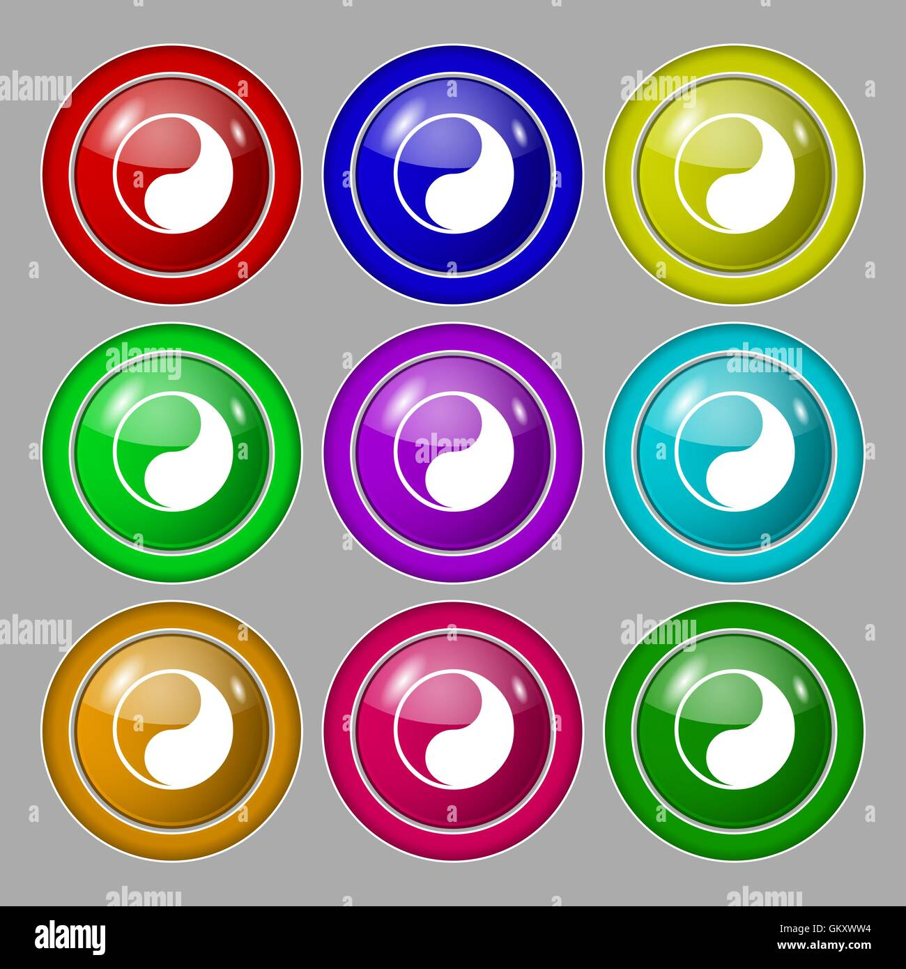 Yin Yang Icon Sign Symbol On Nine Round Colourful Buttons Vector