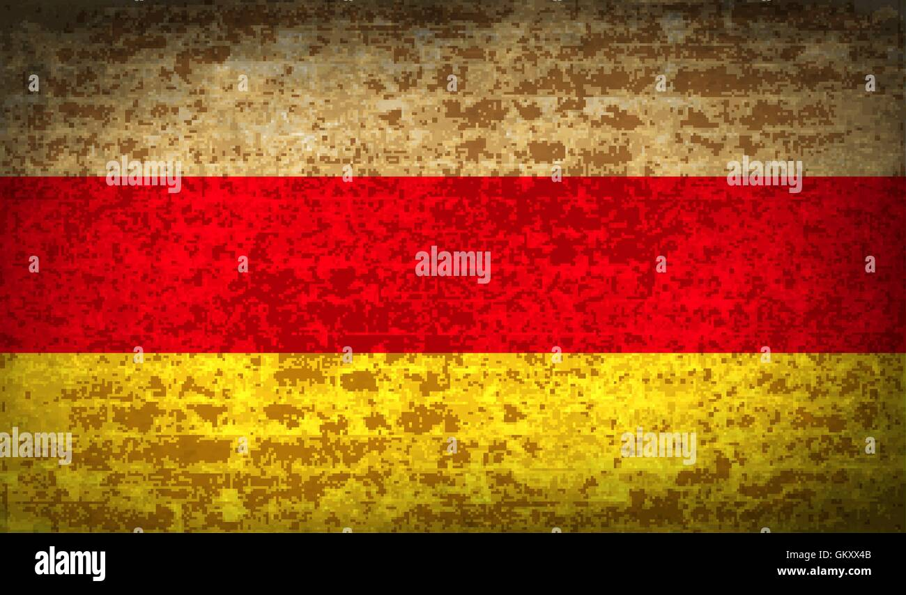 Flags North Ossetia with dirty paper texture. Vector - Stock Image