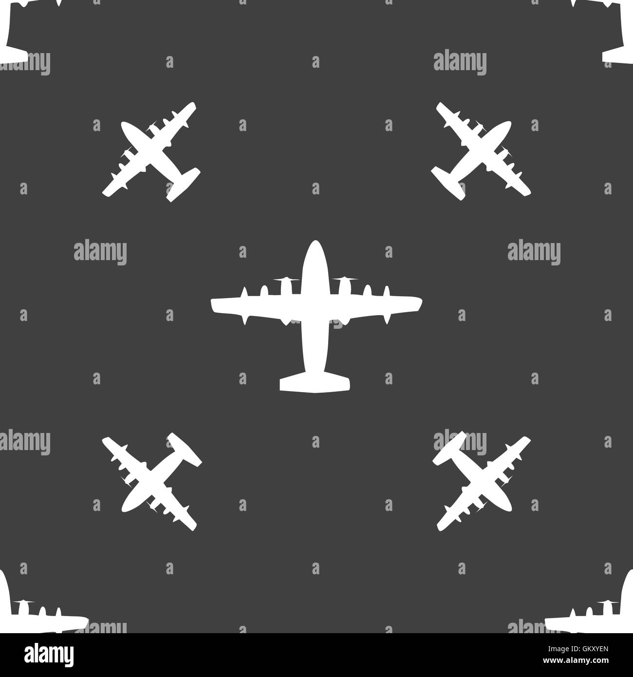 aircraft icon sign. Seamless pattern on a gray background. Vector - Stock Image