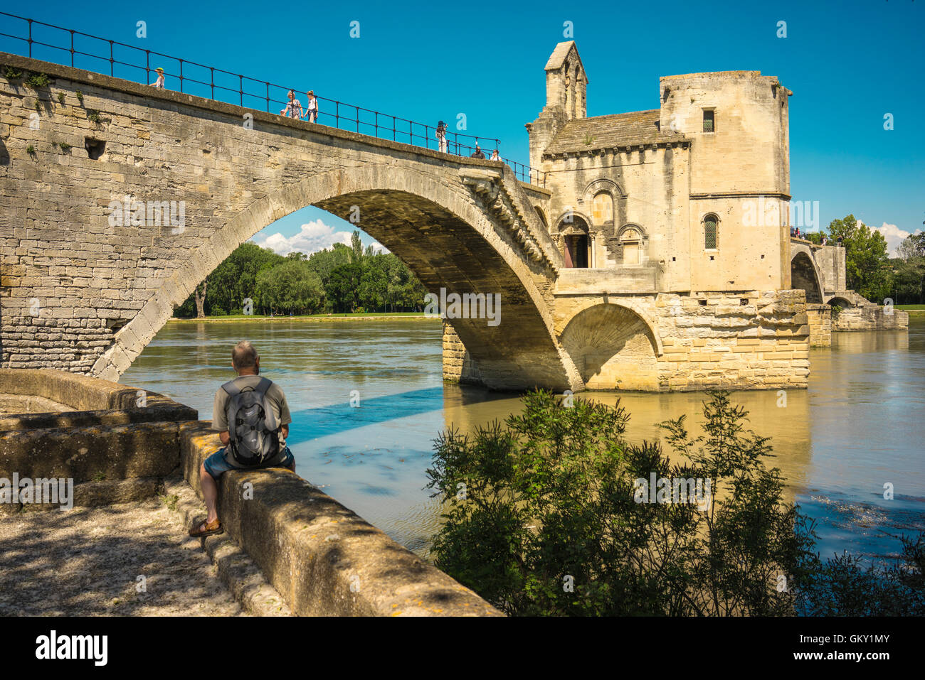 Pont d'Avignon, a famous medieval bridge in the town of Avignon, in southern France. Stock Photo