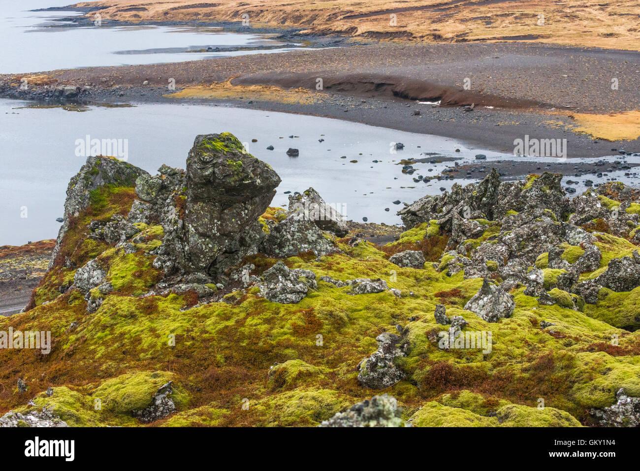 The Berserkjahraun lava field meets the Hraunsfjörður fjord on the Snaefellsnes peninsula in western Iceland. - Stock Image