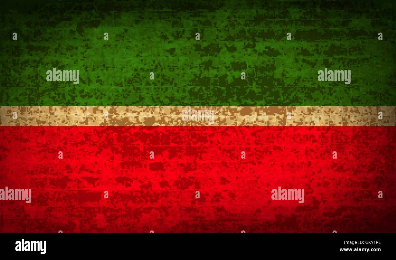 Flags Tatarstan with dirty paper texture. Vector - Stock Image