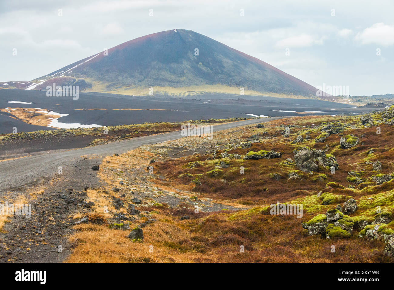 Ash crater in the Berserkjahraun lava field on the Snaefellsnes peninsula in western Iceland - Stock Image