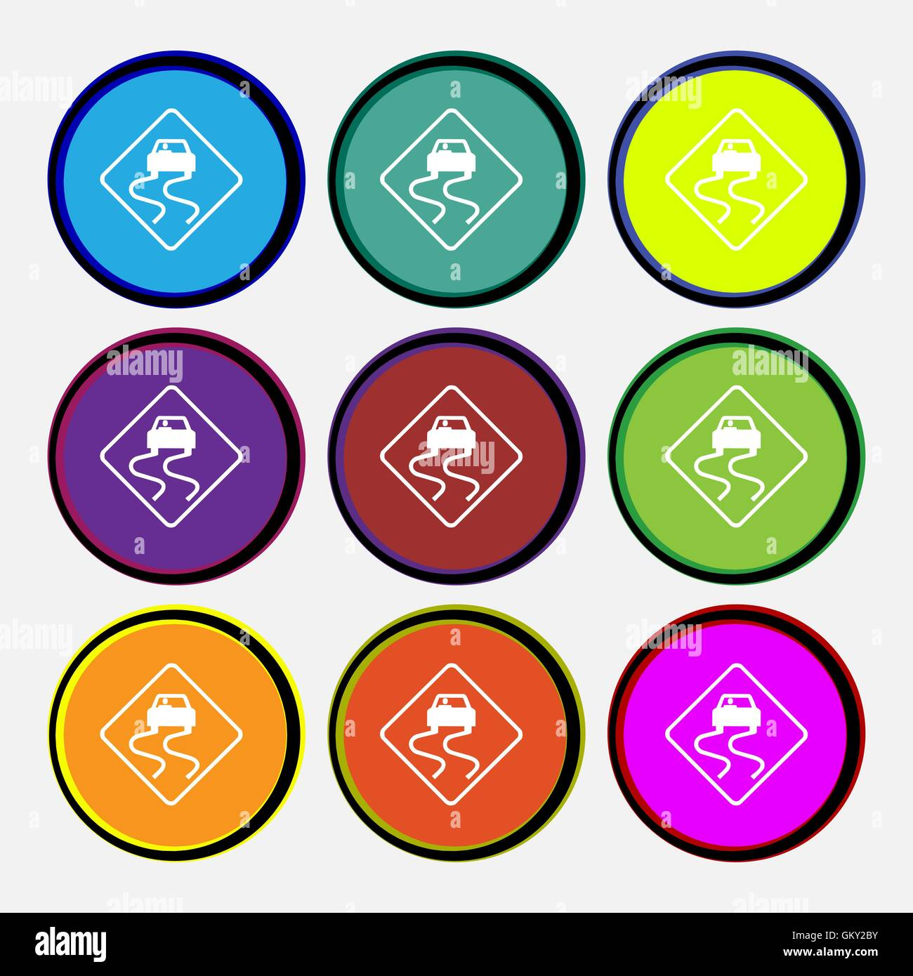 Road slippery icon sign. Nine multi colored round buttons. Vector - Stock Image