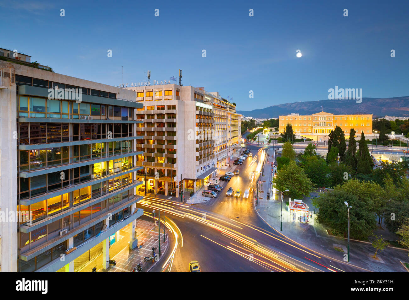 Syntagma square and building of parliament in central Athens. - Stock Image