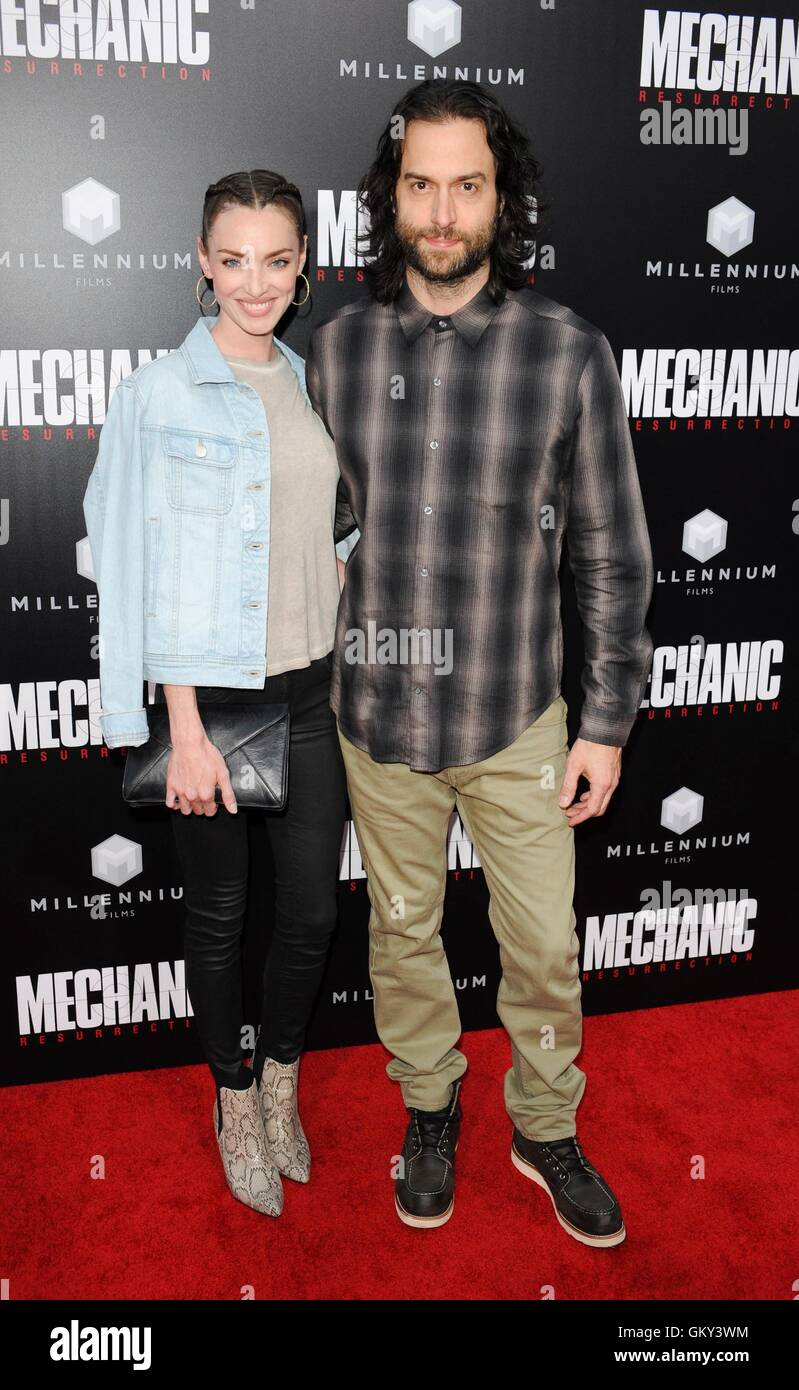 Hollywood, CA. 22nd Aug, 2016. Chris D'Elia, Cassi Colvin at arrivals for MECHANIC: RESURRECTION Premiere, Arclight - Stock Image