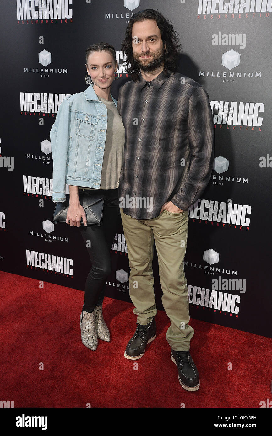 HOLLYWOOD, CA - AUGUST 22:  Cassi Colvin and Chris D'Elia at the Los Angeles premiere of 'Mechanic: Resurrection' - Stock Image