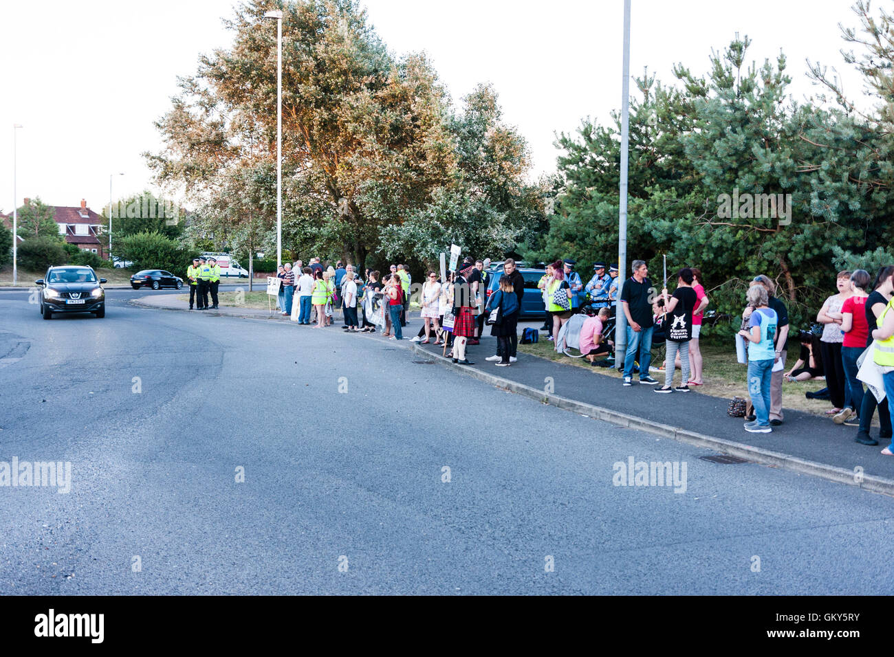 'Ban live exports' protestors standing on side of main road into Ramsgate during peaceful demonstration - Stock Image