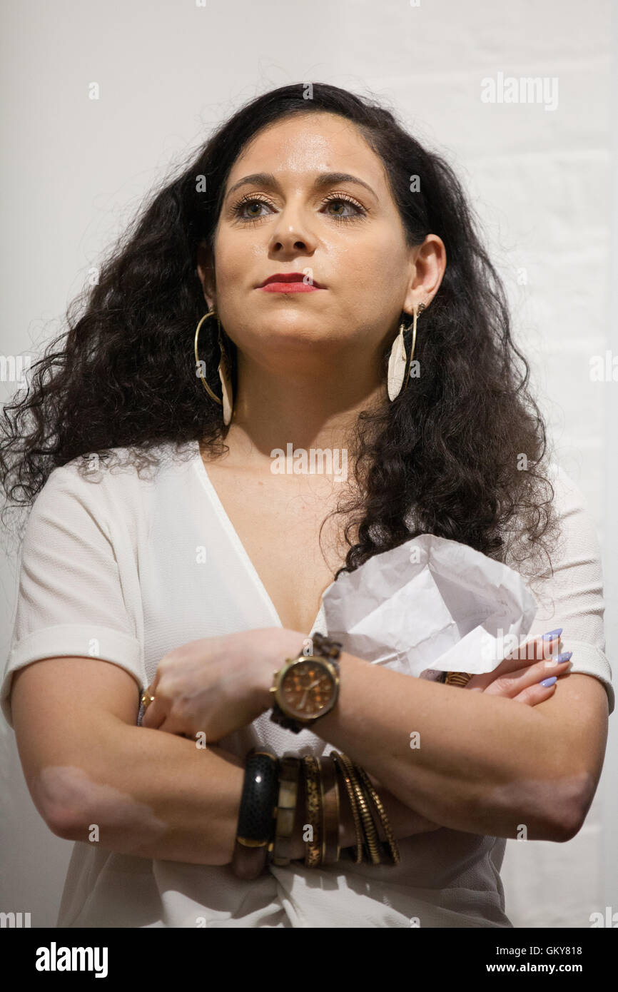 London, UK. 23rd August, 2016. Jenifer Shahin, one of the organisers of the speaking tour event at Valentine Place - Stock Image
