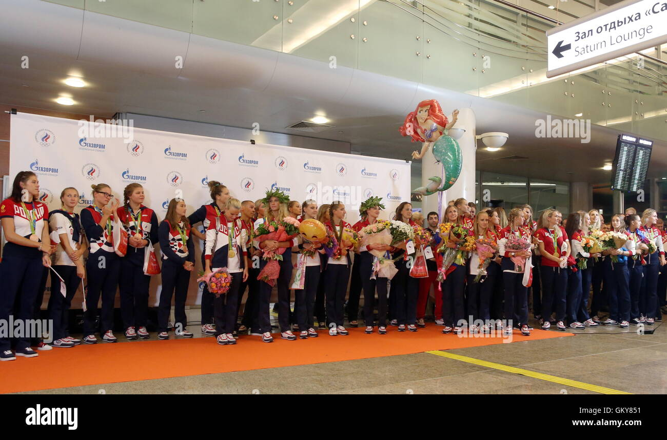 MOSCOW REGION, RUSSIA – AUGUST 23, 2016: Team Russia medallists welcomed as they arrive at Sheremetyevo International - Stock Image