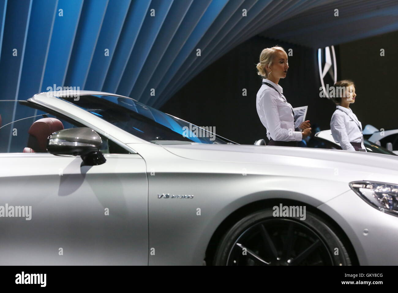 Moscow, Russia. 24th Aug, 2016. A Mercedes-Benz S 63 Cabriole car on display at the 2016 Moscow International Automobile - Stock Image