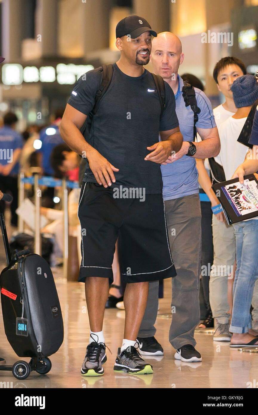 Narita, Japan. 24th August, 2016. American actor Will Smith arrives at Narita International Airport on August 24, - Stock Image