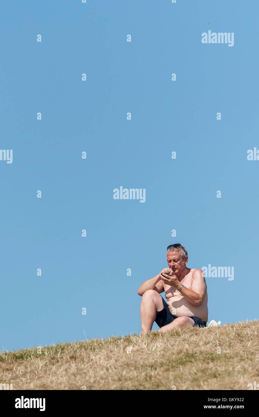 London, UK.  24 August 2016.  A sunbather enjoys the weather on Primrose Hill as a mini heatwave brings sunshine - Stock Image
