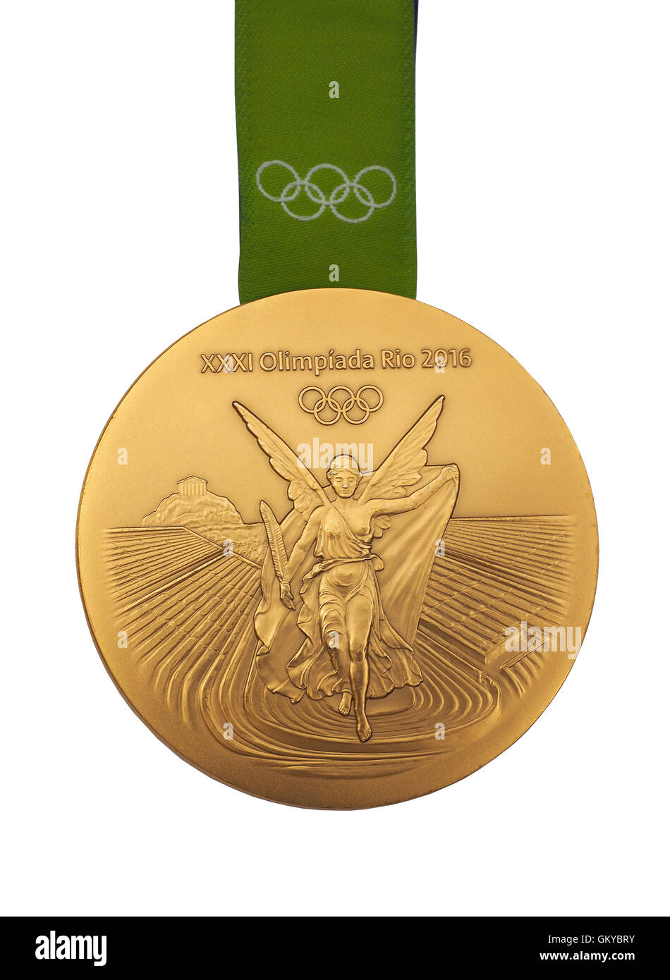 Gold medal from Rio 2016 Olympic Games Stock Photo