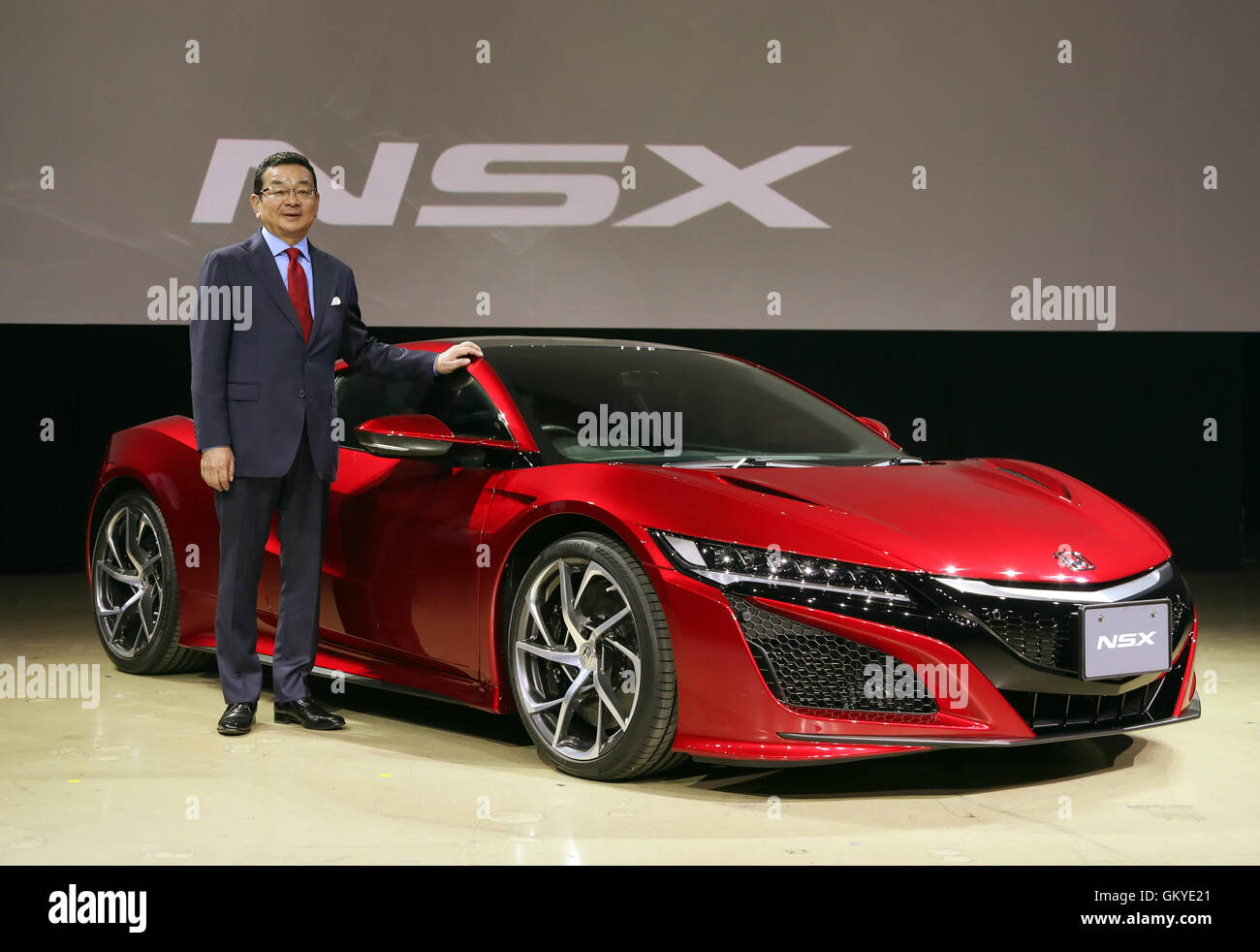 Japanese Automobile Giant Honda Motor President Takahiro Hachigo Introduces The Companys Sports Car NSX Fully Redesigned For First Time In 26 Years