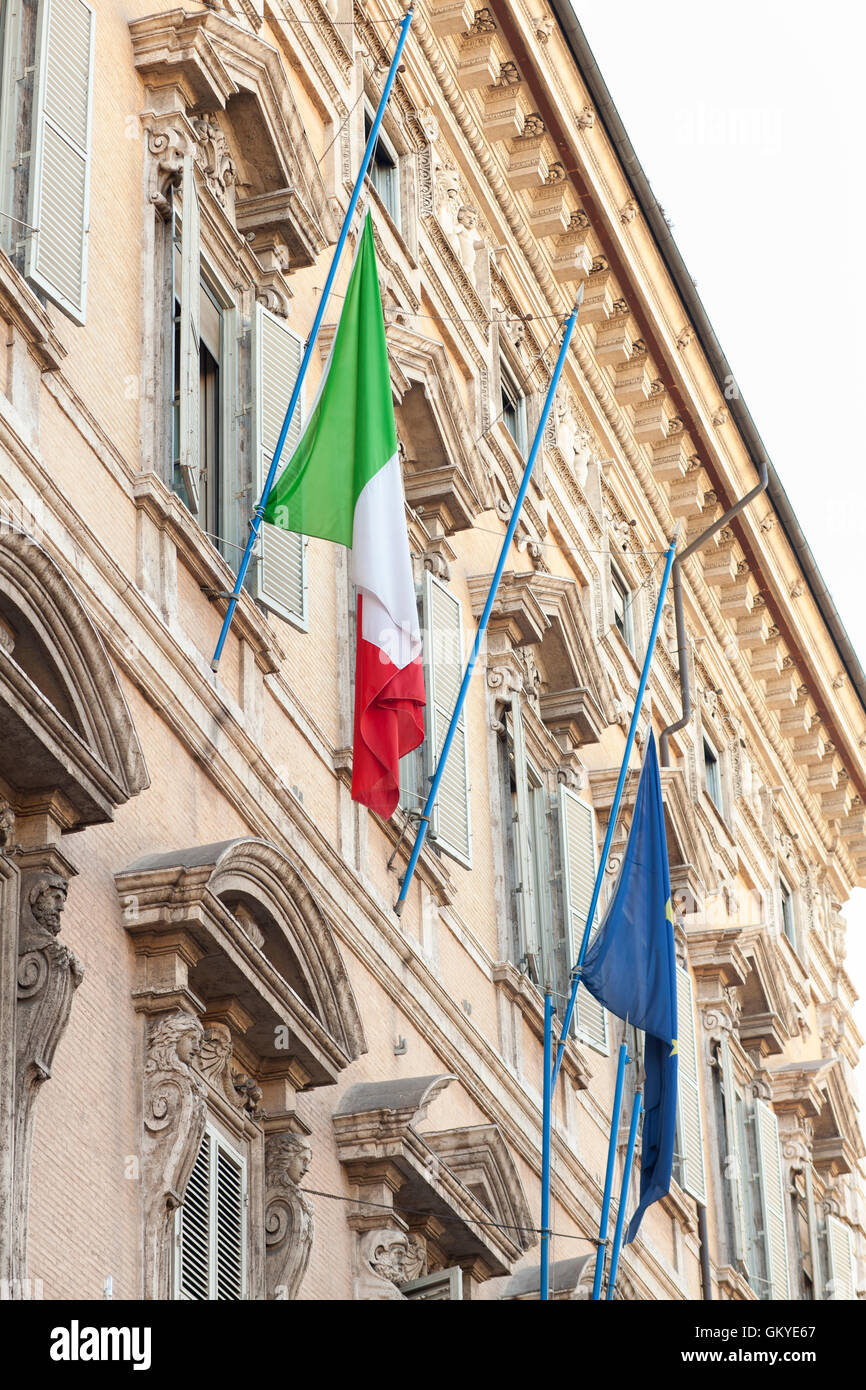 Rome, Italy. 25th Aug, 2016. Flags at half mast appear at the Italian Senate, Palazzo Madama. Italy is in mourning Stock Photo