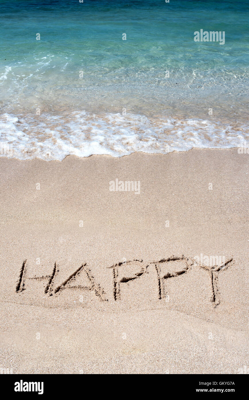 The word Happy drawn on a tropical beach at the edge of a gentle surf and blue ocean - Stock Image