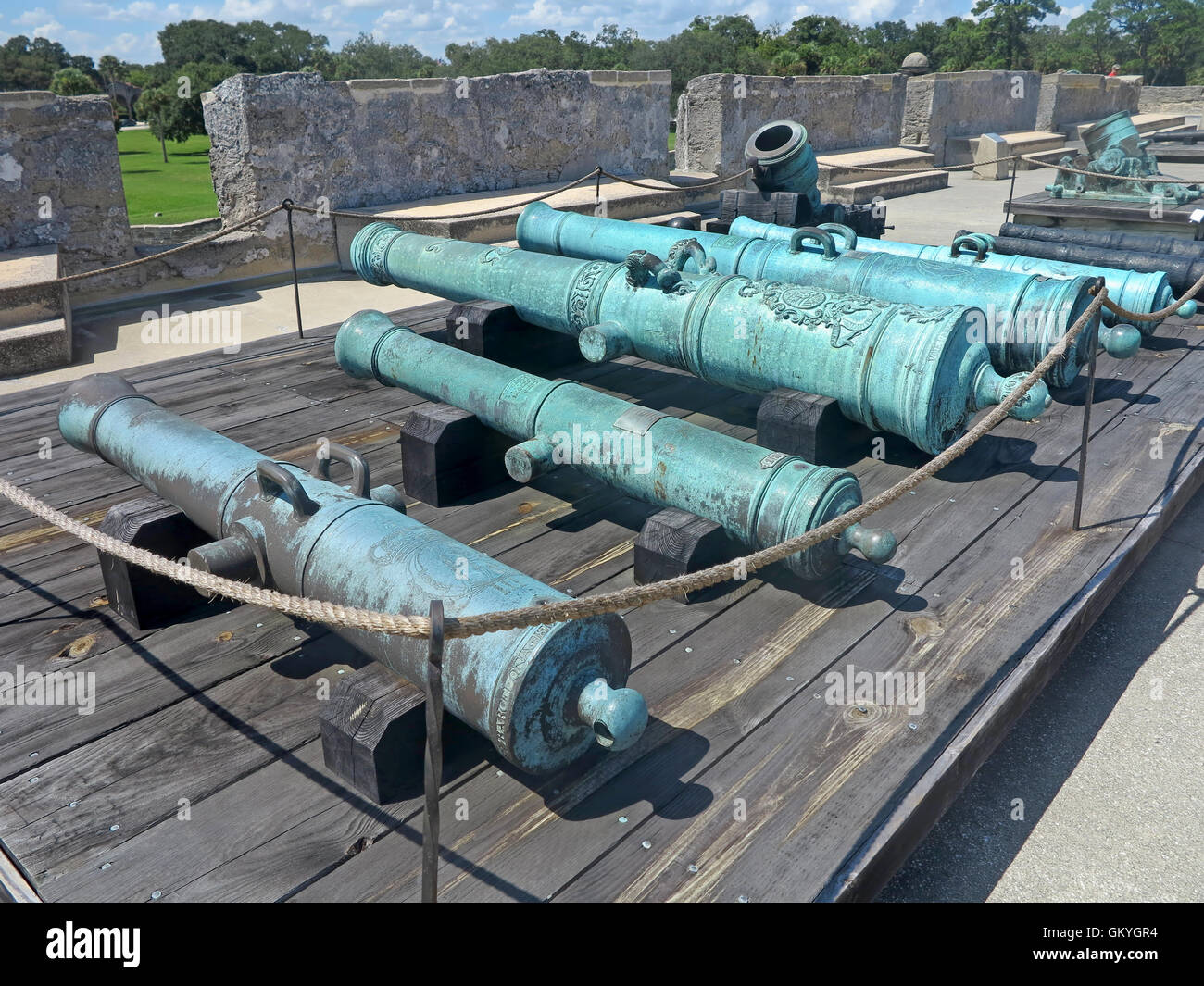 Cannons at the Castillo de San Marcos Fort in St Augustine, Florida ...