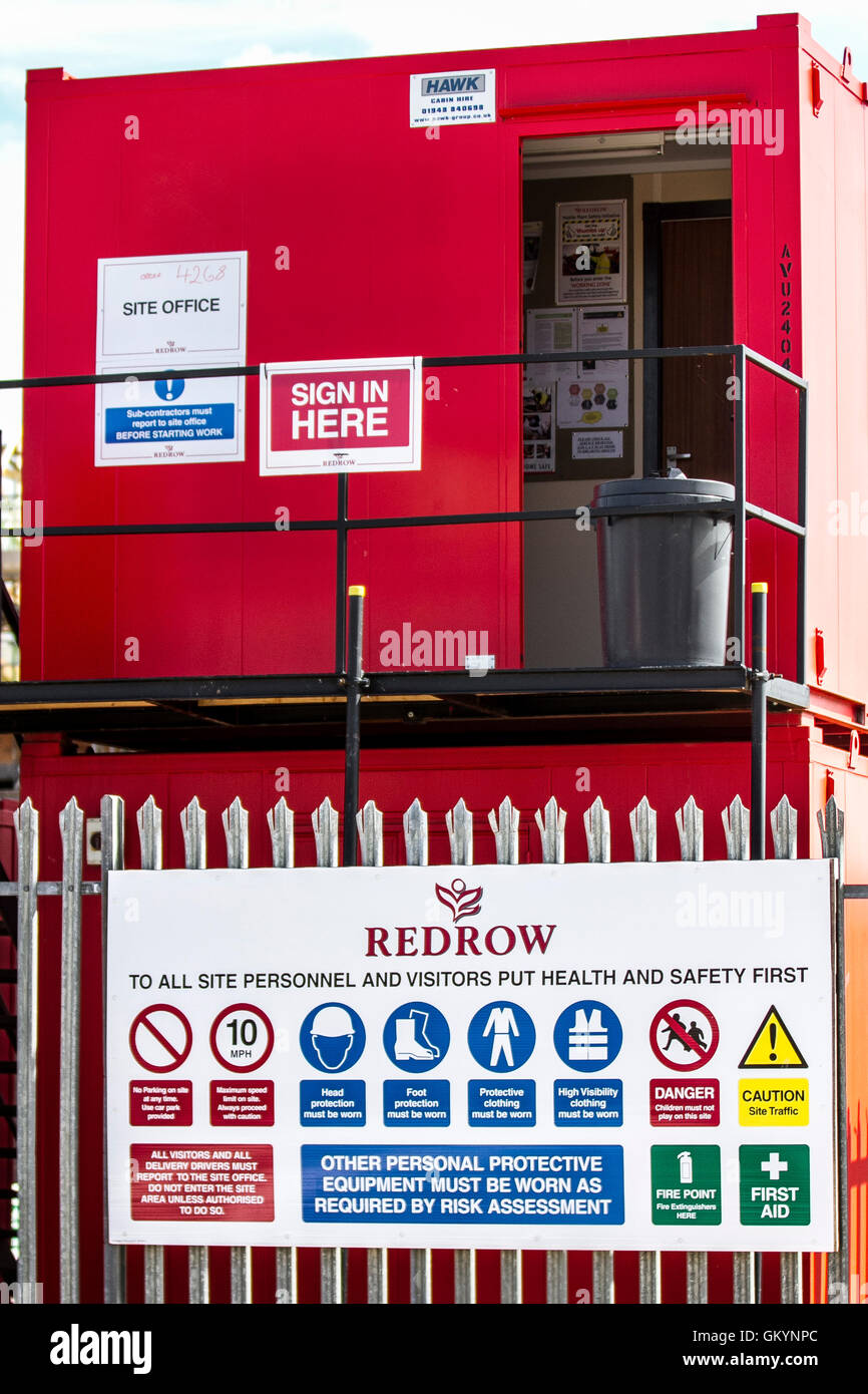 Construction site instructions. Health and Safety signage, PPE signs, personal protective equipment, safety footwear, Stock Photo