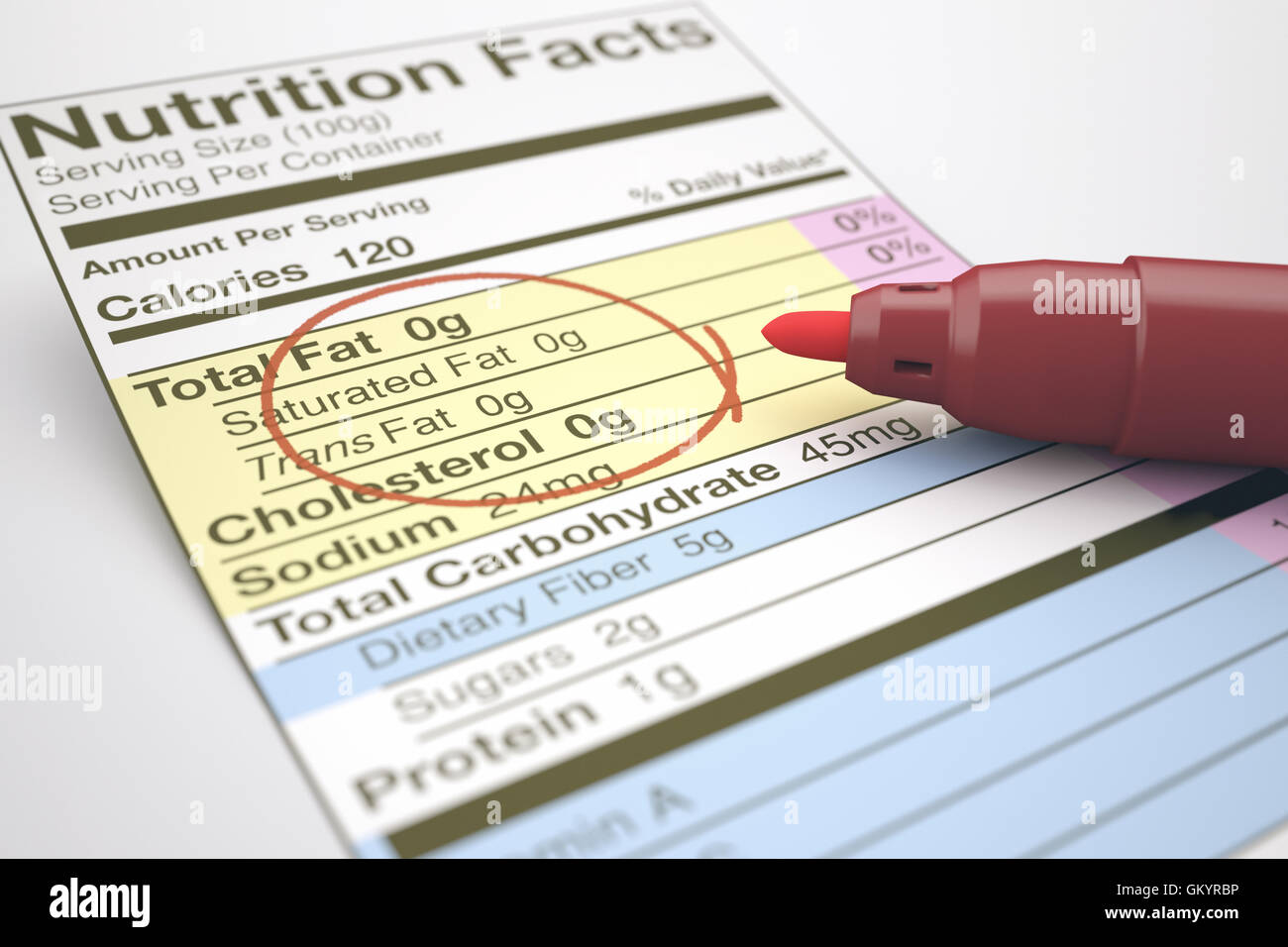 Nutrition facts with zero values of fat, marked with a red pen. - Stock Image