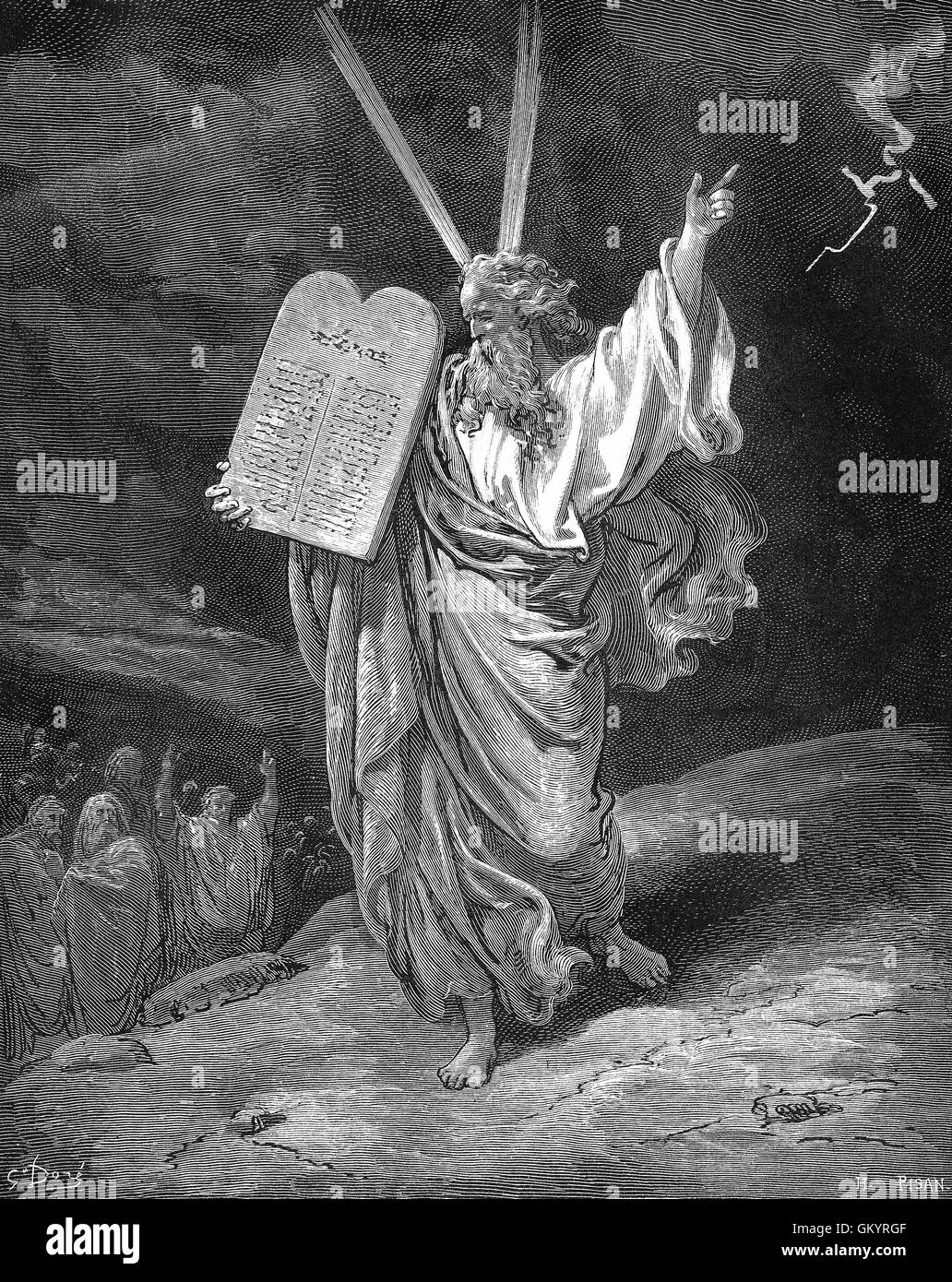Engraving of Moses Coming Down From Mount Sinai by Gustave