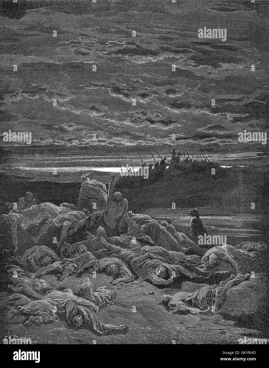 Engraving of The Death of The Sons of Gideon by Gustave Doré - Stock Image
