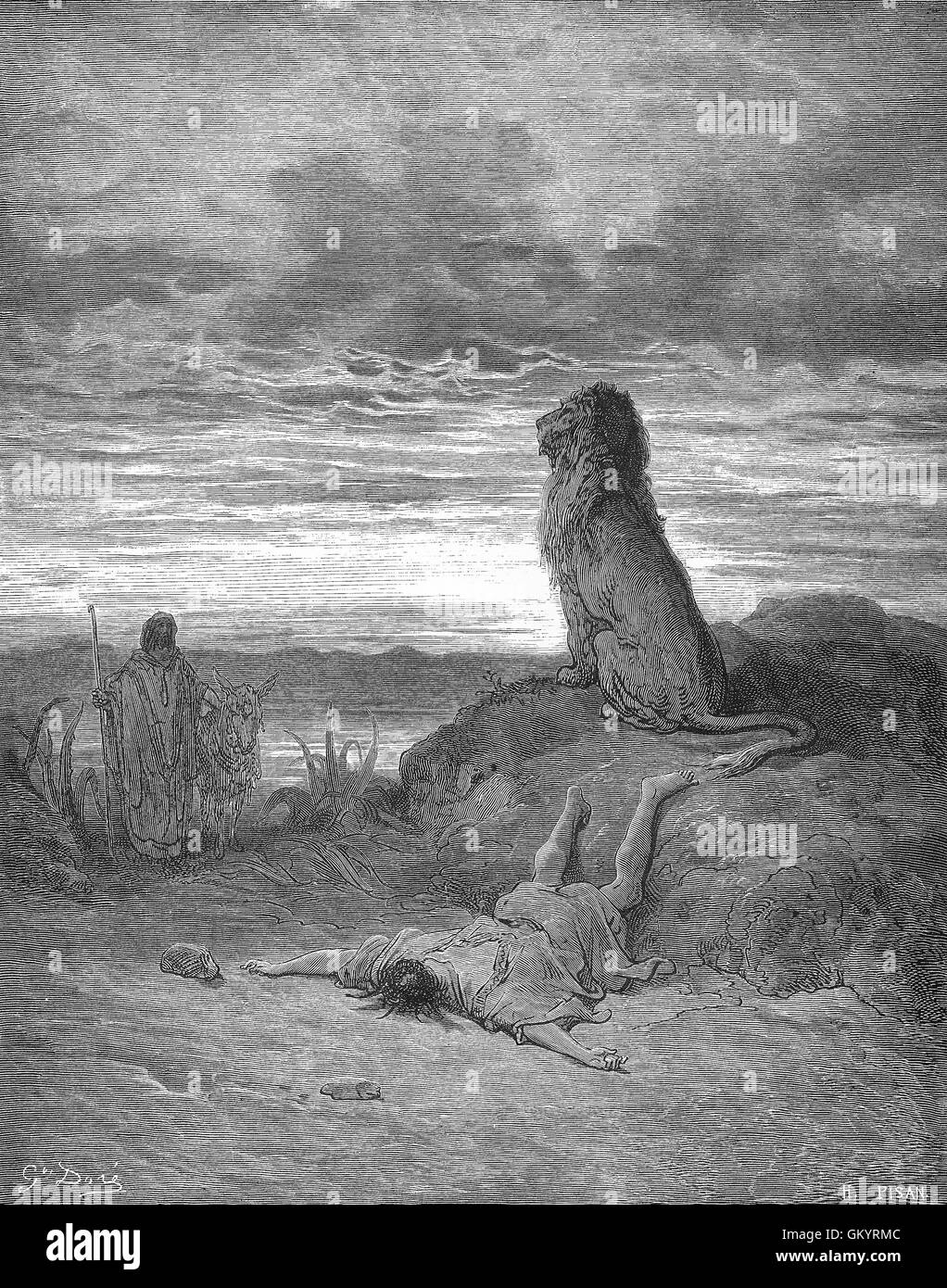 Engraving of The Disobedient Prophet Slain by a Lion by Gustave Doré - Stock Image