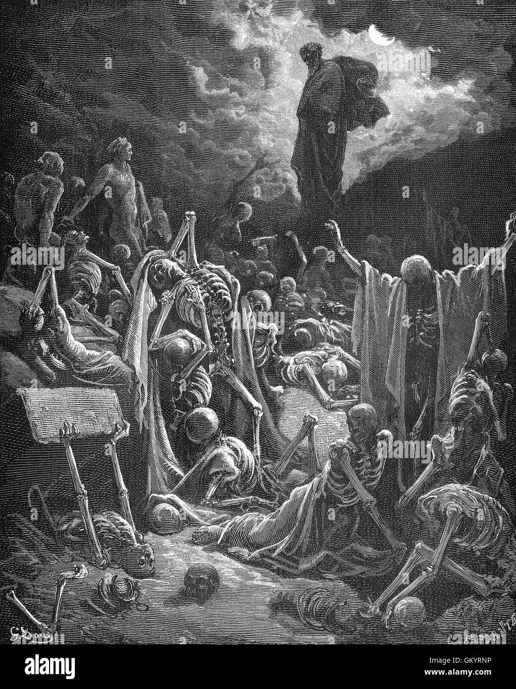 Engraving of The Vision of The Valley of Dry Bones by  Gustave Doré Stock Photo
