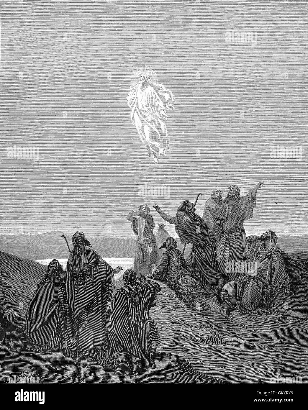 Engraving of The Ascension by Gustave Doré Stock Photo