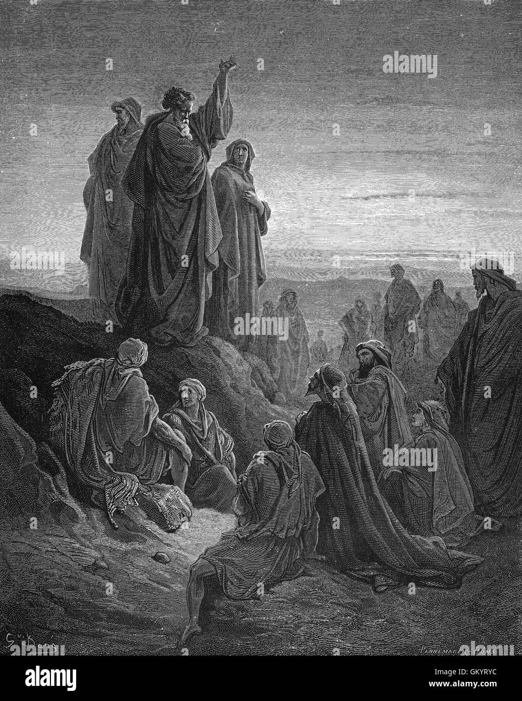 engraving of the apostles preaching the gospel by gustave doré stock