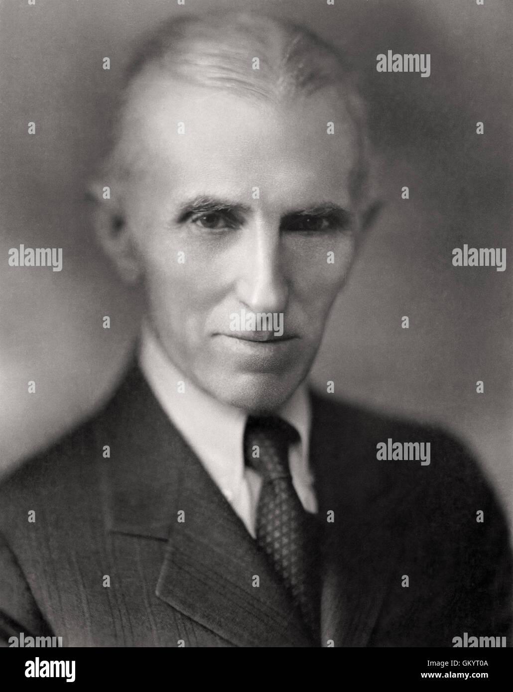 Nikola Tesla portrait by Napoleon Sarony - Stock Image
