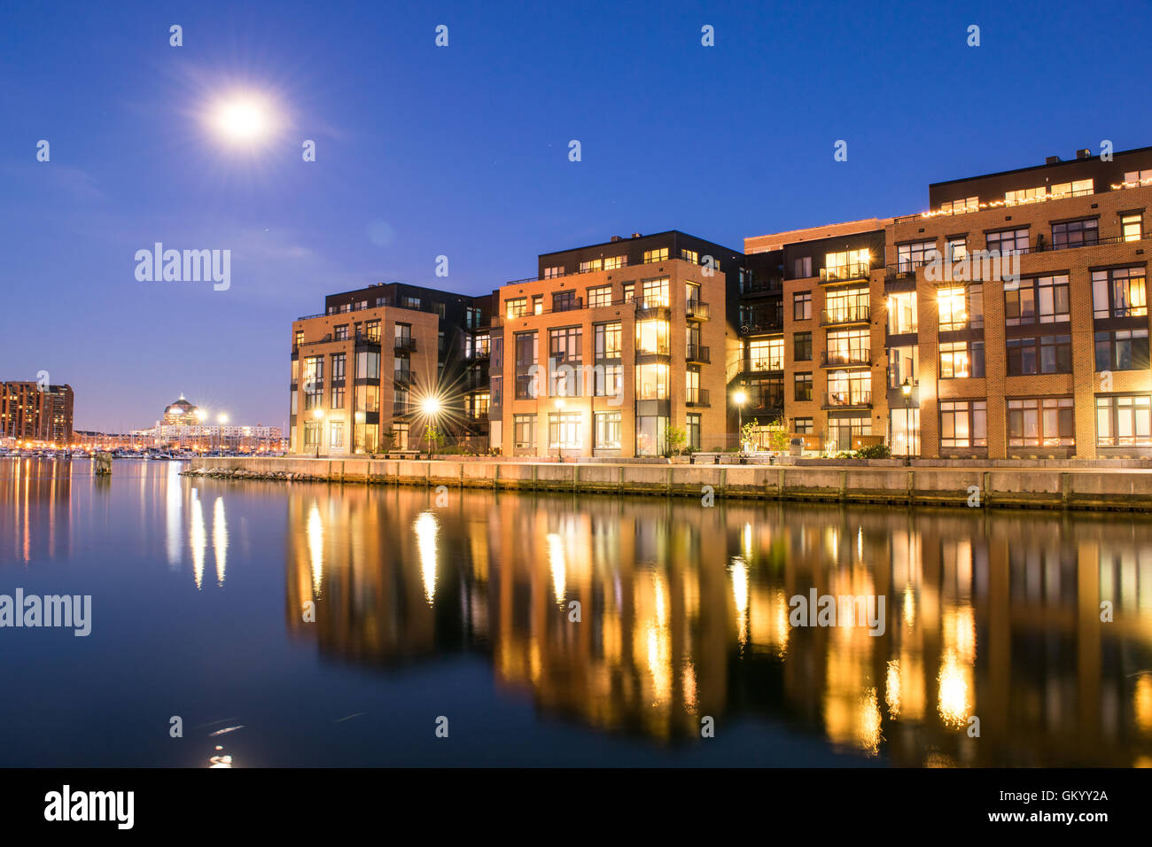 Apartment Buildings In The Inner Harbor Area In Baltimore, Maryland   Stock  Image
