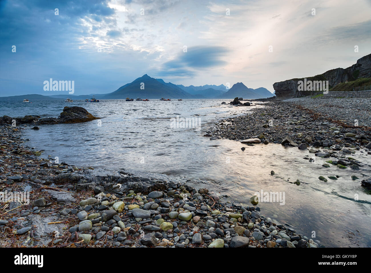 Storm clouds building over the beach at Elgol on the Isle of Skye in Scotland - Stock Image