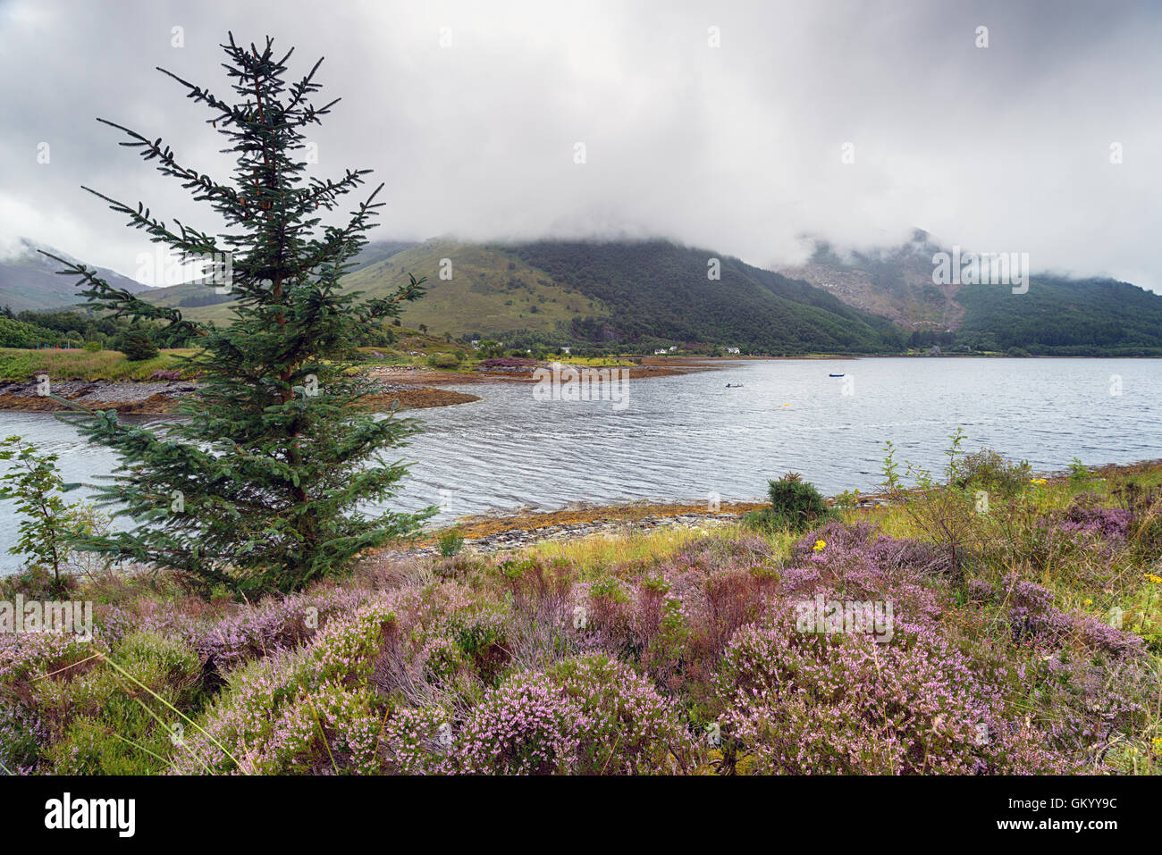 A rainy day at Loch Leven near Glencoe in the Scottish Highlands - Stock Image