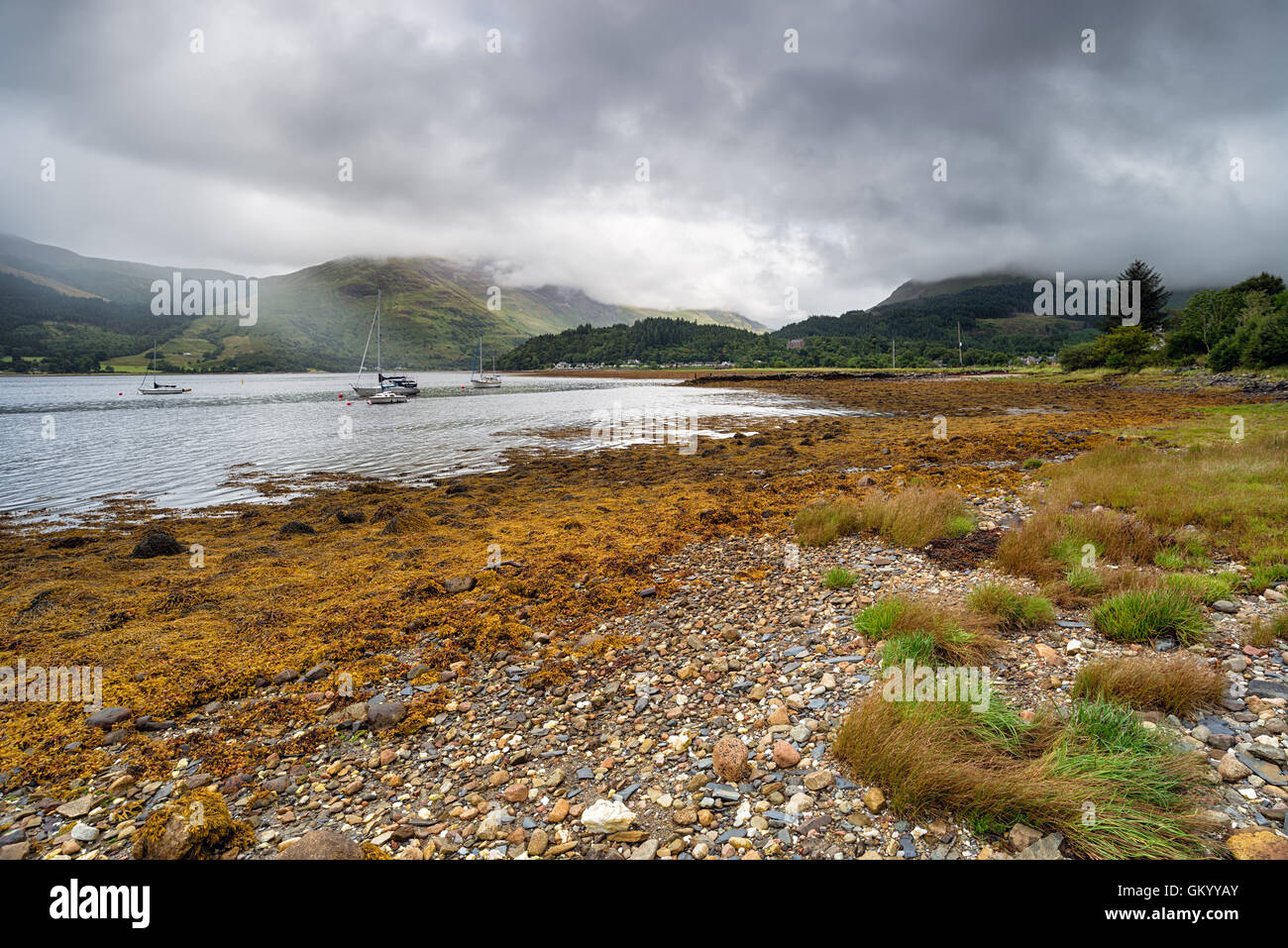 The shores of Loch Leven, looking towards the village of Glencoe - Stock Image